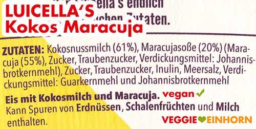 Zutaten Luicella's Kokos Maracuja
