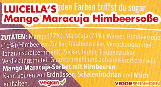 Zutaten Luicella's Mango Maracuja Himbeersoße