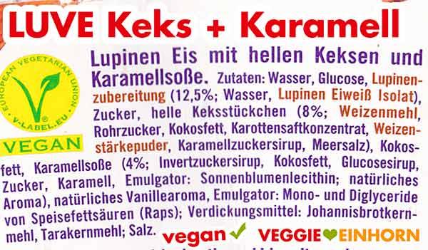 Zutaten von Luve Lupinen Eis Keks und Karamell