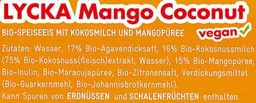 Zutaten Lycka Mango Coconut Eis