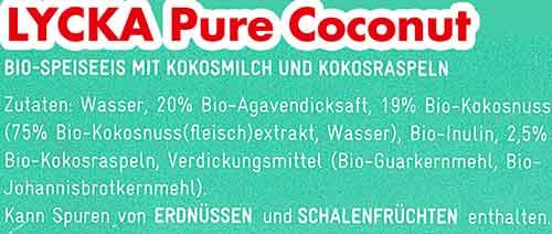 Zutaten Lycka Pure Coconut Eis