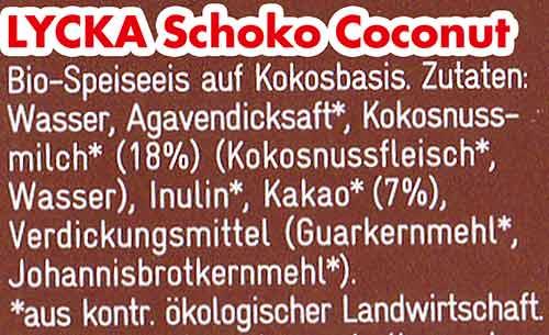 Zutaten Lycka Schoko Coconut Eis