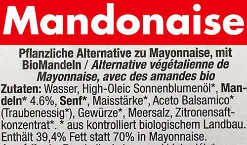 Inhaltsstoffe von Mandonaise