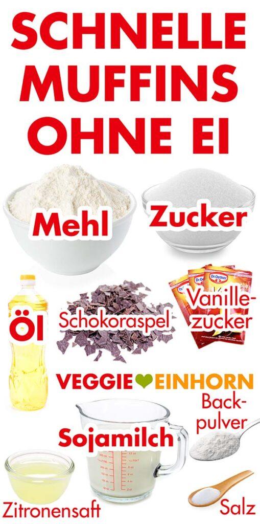 Zutaten für Muffinteig ohne Ei mit Öl