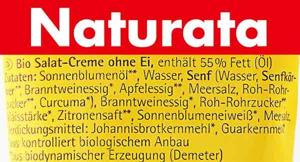 Zutaten von Bio Salatcreme ohne Ei von Naturata
