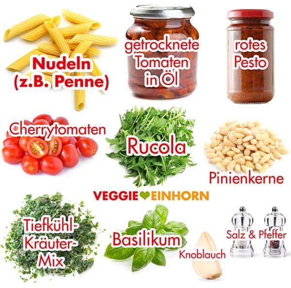 Zutaten für Nudelsalat mit Pesto