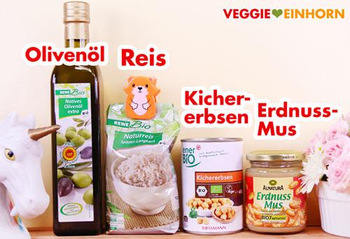 Olivenöl Reis Kichererbsen Erdnussmus