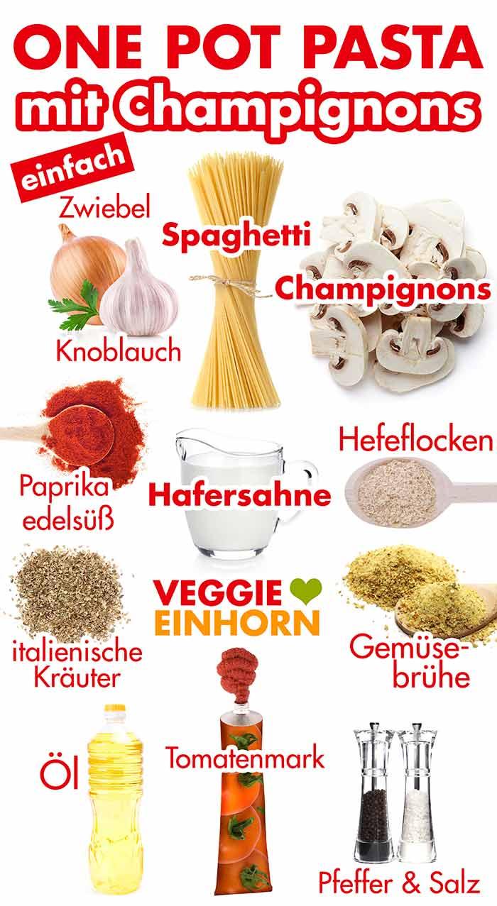 Zutaten für One Pot Pasta mit Champignons