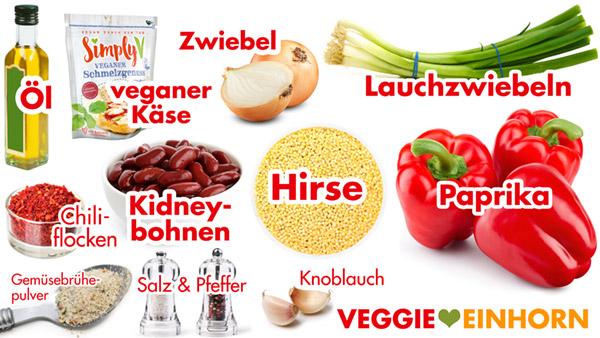 Zutaten für gefüllte Paprika mit Hirse und Kidneybohnen