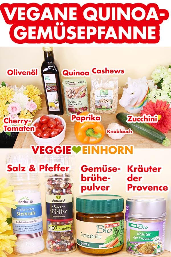 Zutaten Quinoa, Paprika, Zucchini, Tomaten, Cashews, Kräuter der Provence
