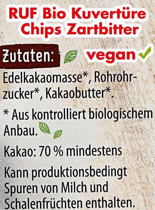 Zutatenliste auf der Verpackung von RUF Bio Kuvertüre Chips Zartbitter