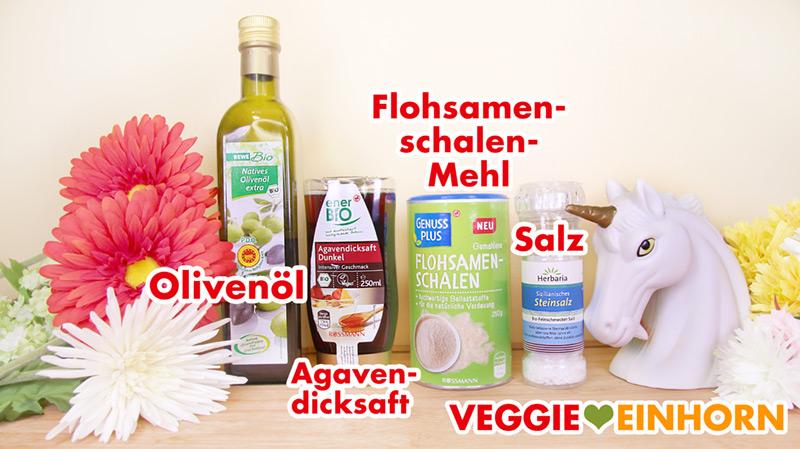 Olivenöl, Agavendicksaft, Flohsamenschalen, Salz
