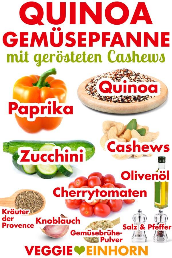 Zutaten für vegane Gemüsepfanne mit Quinoa, Paprika, Zucchini, Tomaten, Cashews