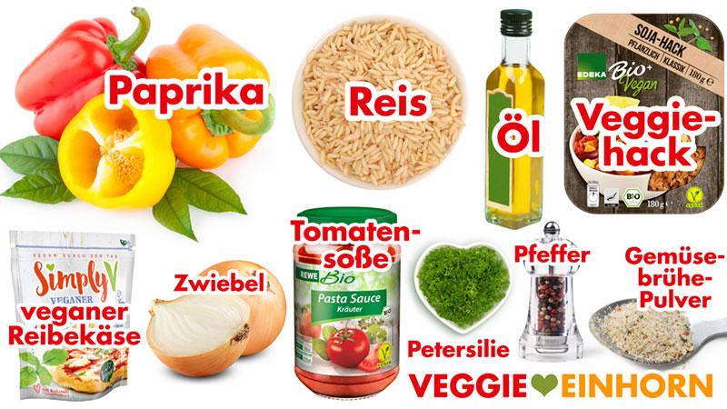 Rezept Zutaten - Gefüllte Paprika mit Reis und Veggiehack (Soja-Hack) - vegan & glutenfrei | mit REZEPTVIDEO