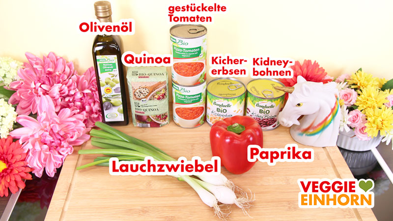 Zutaten für veganen Kichererbsen-Quinoa-Eintopf