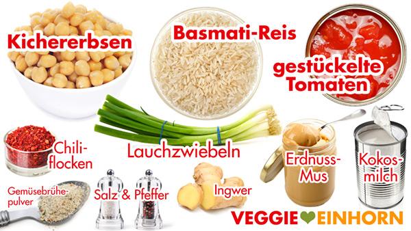 Zutaten Kichererbsen, Kokosmilch aus der Dose, Erdnussmus, Basmati Reis