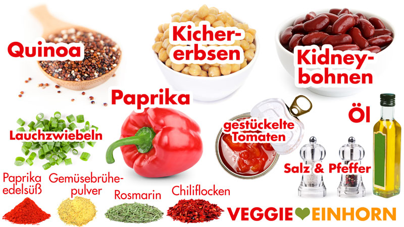 Zutaten Quinoa, Kichererbsen, Bohnen, Paprika