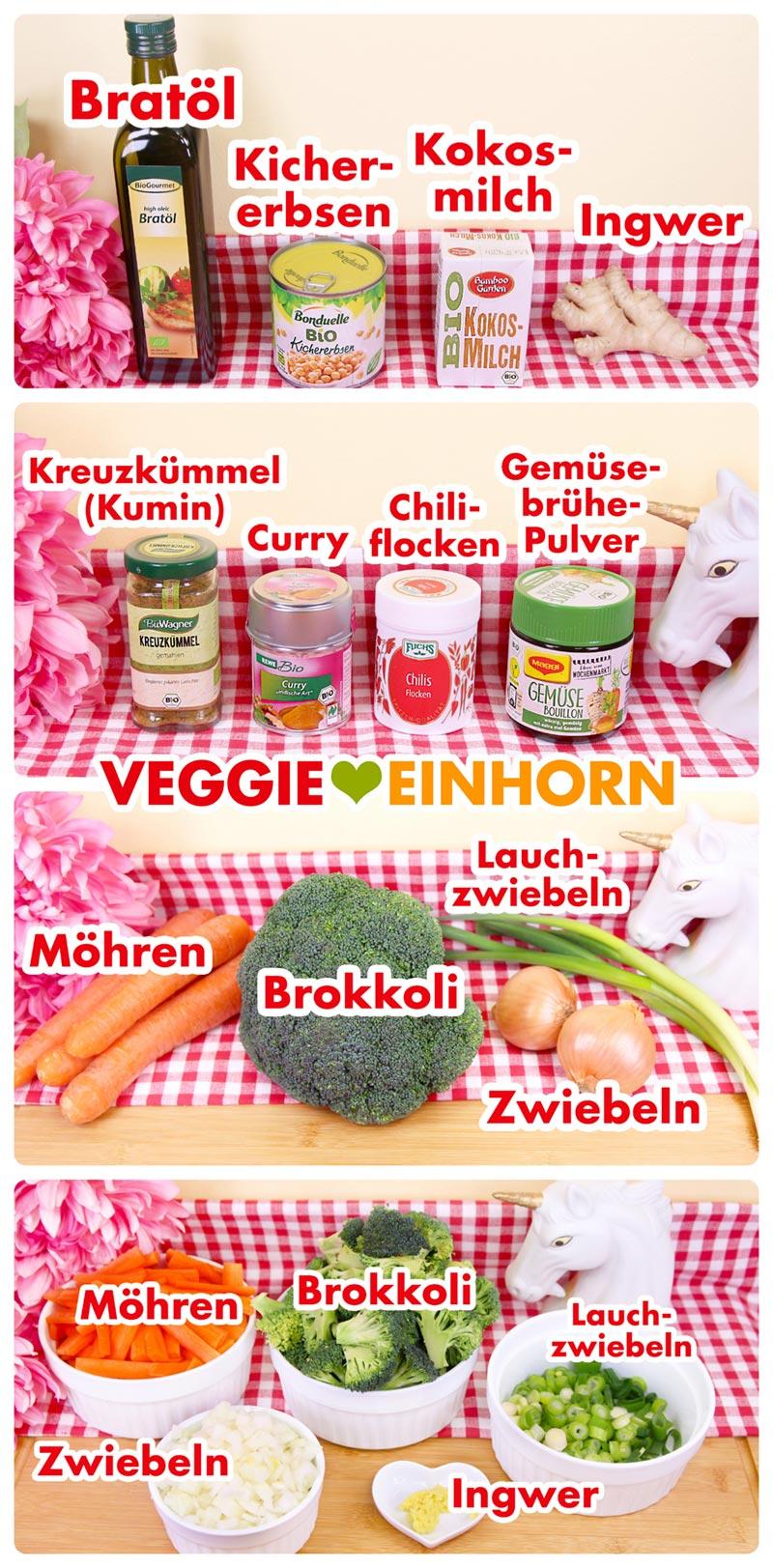 Zutaten, Gewürze und Gemüse