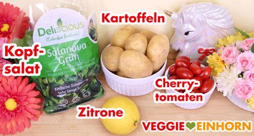 Kopfsalat, Kartoffeln, Cherrytomaten, Zitrone