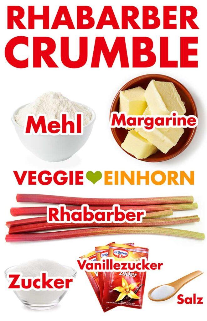 Zutaten für Rhabarber Crumble