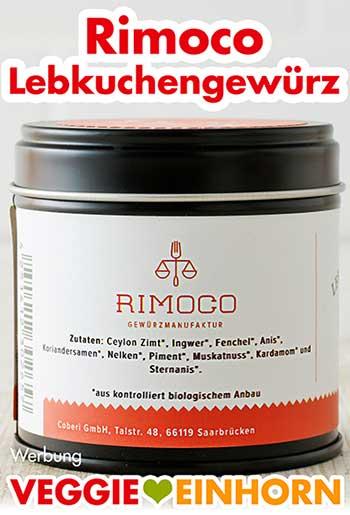 Zutatenliste auf der Dose von Rimoco Bio Lebkuchengewürz