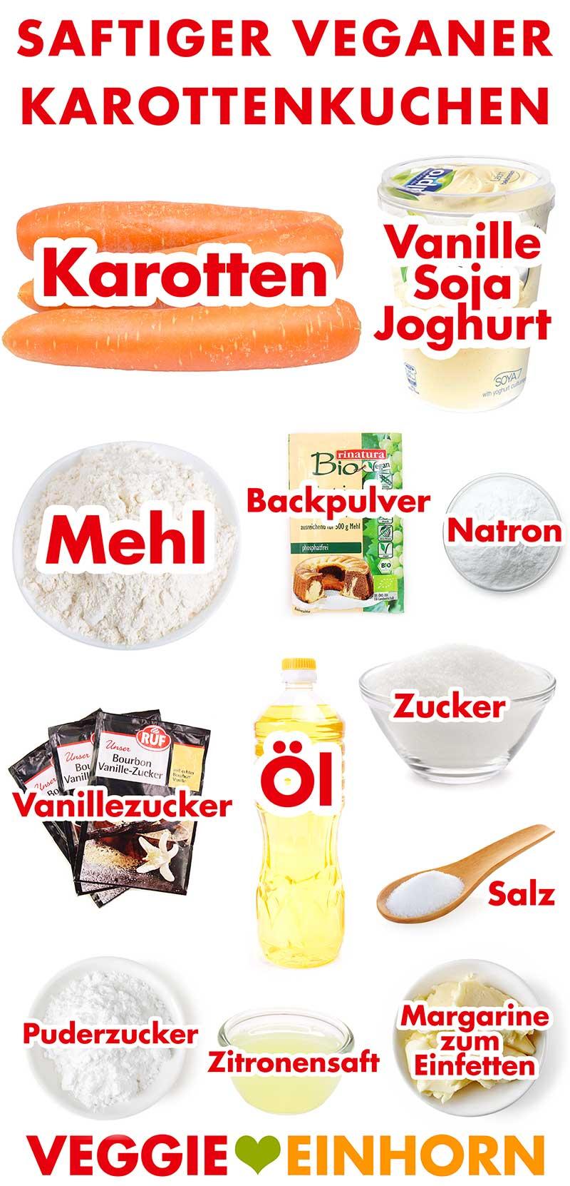 Zutaten für saftigen veganen Karottenkuchen
