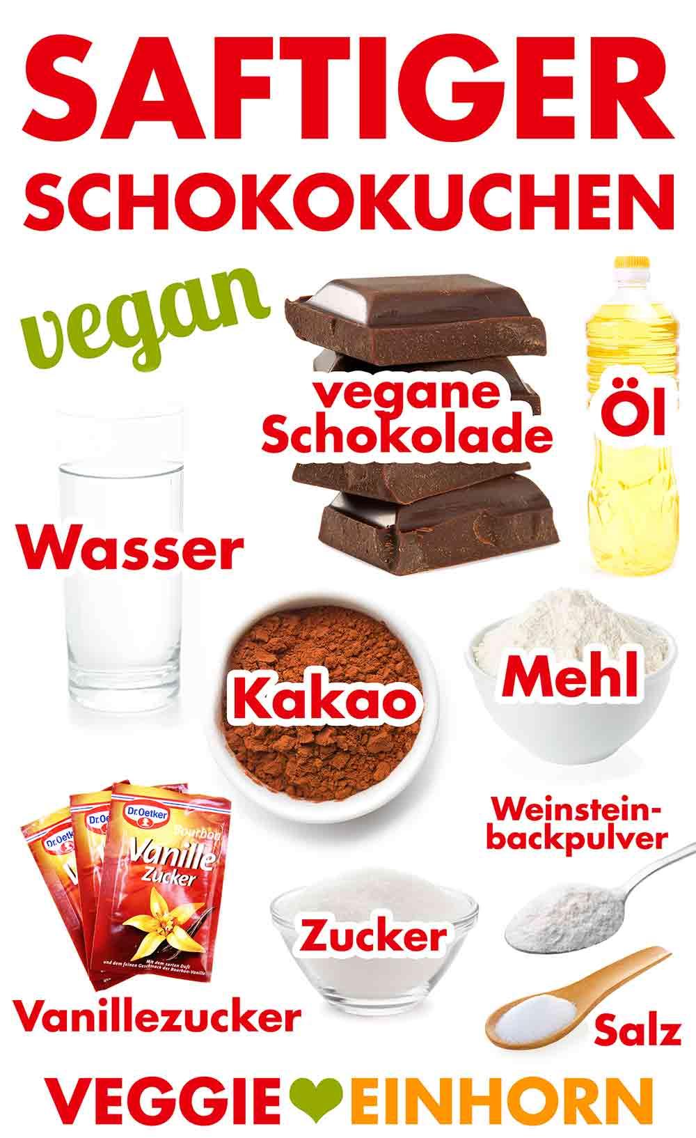 Zutaten für saftigen veganen Schokokuchen