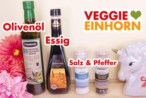 Olivenöl, veganer Aceto Balsamico Essig, Salz und Pfeffer