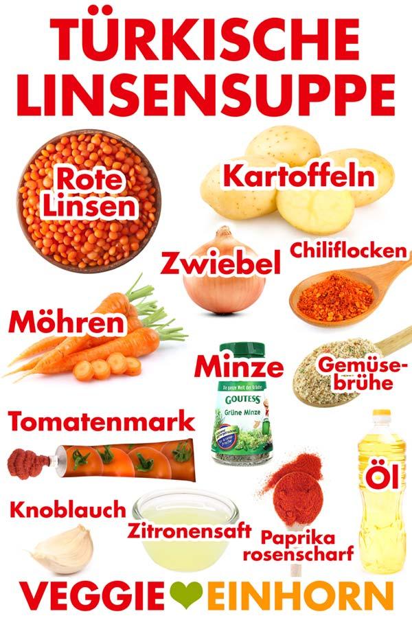 Zutaten für Türkische Linsensuppe mit Roten Linsen