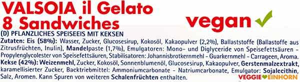Zutaten von Valsoia Eis Sandwiches