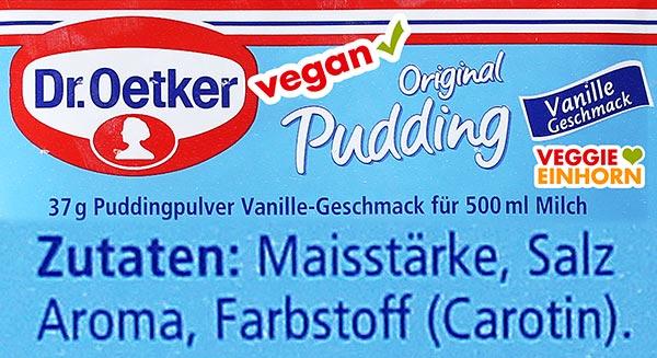 Zutaten Dr. Oetker Vanillepuddingpulver