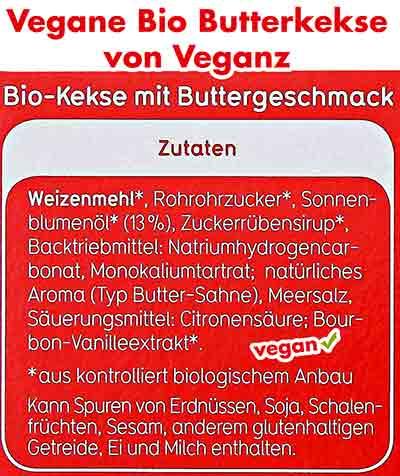 Inhaltsstoffe von veganen Bio Butterkeksen von Veganz
