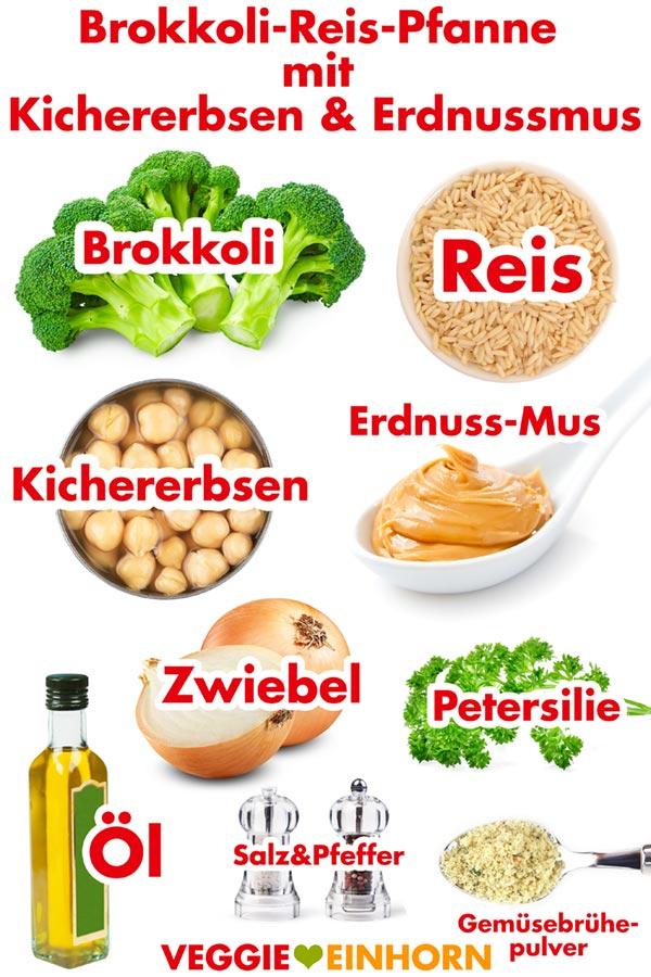 Zutaten für vegane Reispfanne mit Brokkoli, Kichererbsen und Erdnussmus