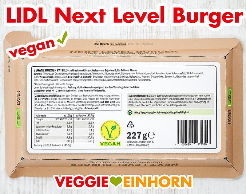 Rückseite der Packung der veganen Burger von Lidl