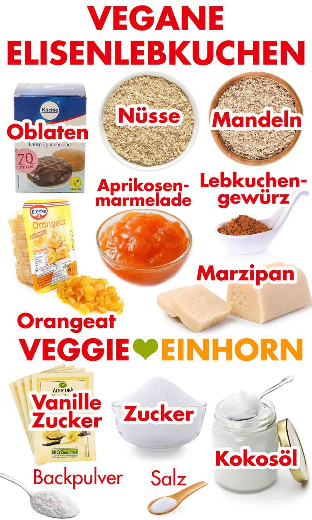 Zutaten für vegane Elisenlebkuchen