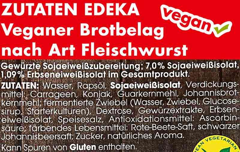 Zutaten von Veganer Fleischwurst von Edeka