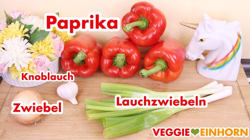 Paprika, Knoblauch, Zwiebel, Lauchzwiebeln