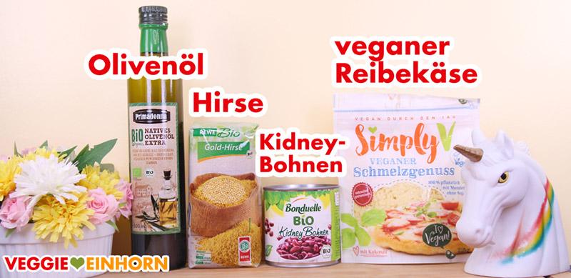 Hirse, Kidneybohnen und veganer Reibekaese