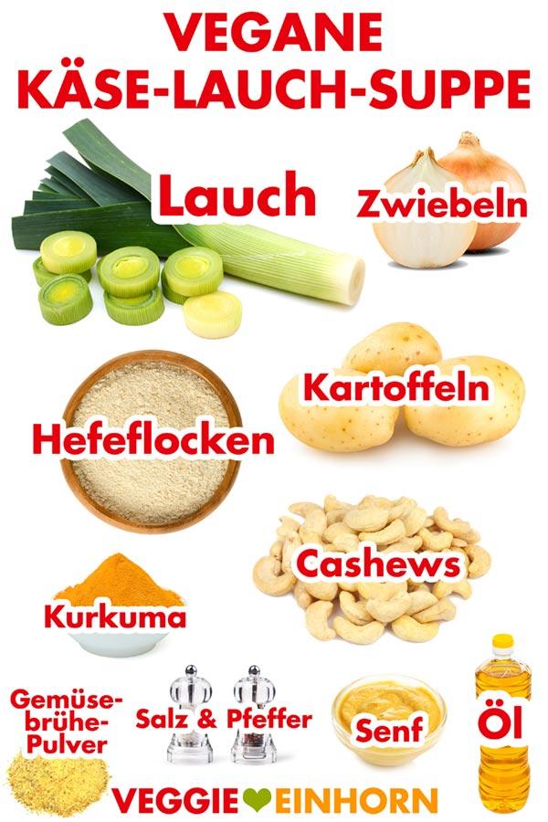 Zutaten für vegane Käse-Lauch-Suppe mit Kartoffeln