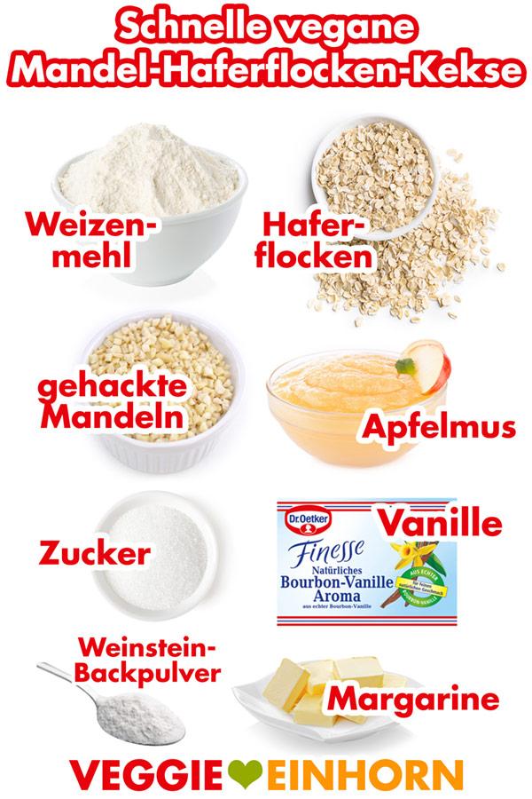 Zutaten für Mandel-Haferflocken-Kekse