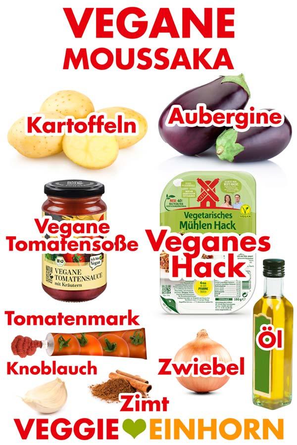 Zutaten für vegane Moussaka mit Auberginen, Kartoffeln und Hackfleisch