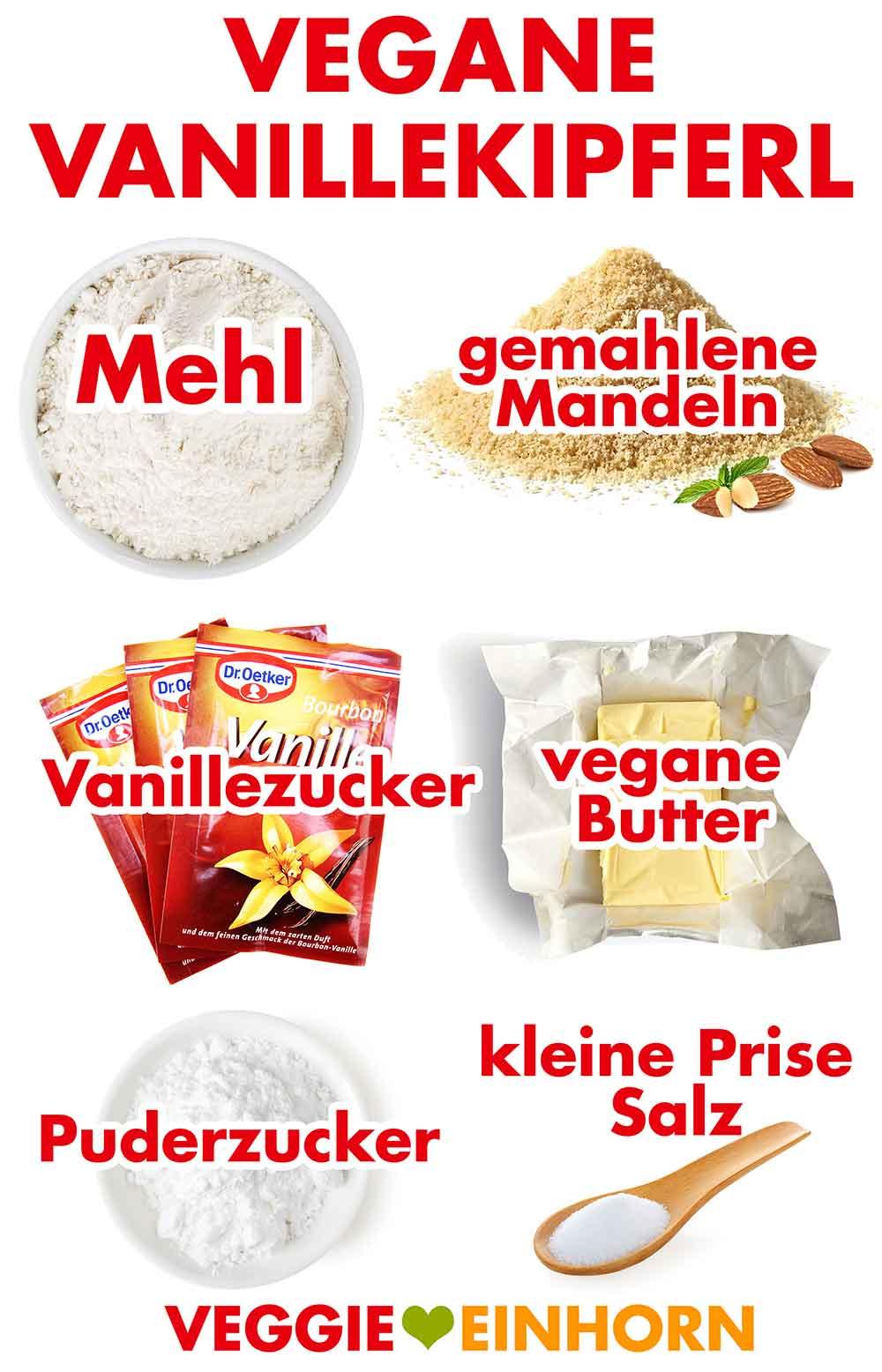 Zutaten für vegane Vanillekipferl