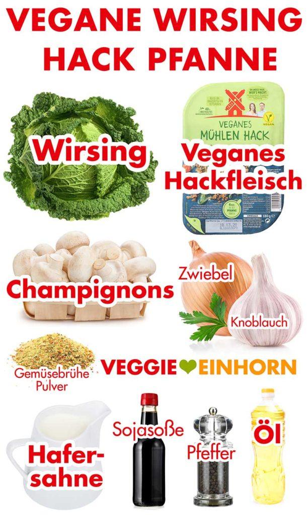 Zutaten für die vegane Wirsing Hack Pfanne