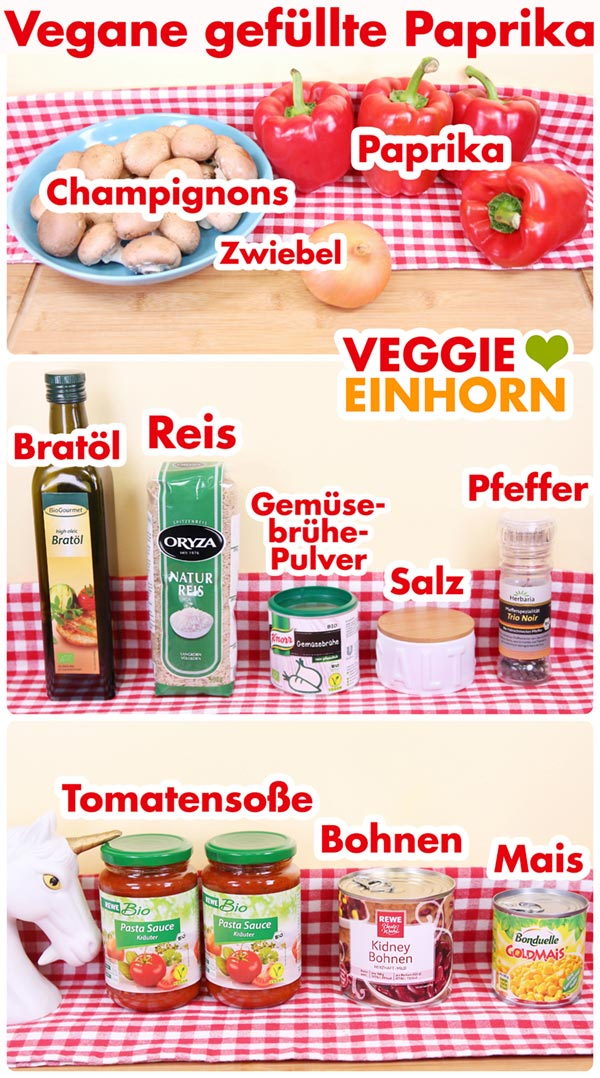 Zutaten für vegane gefüllte Paprika