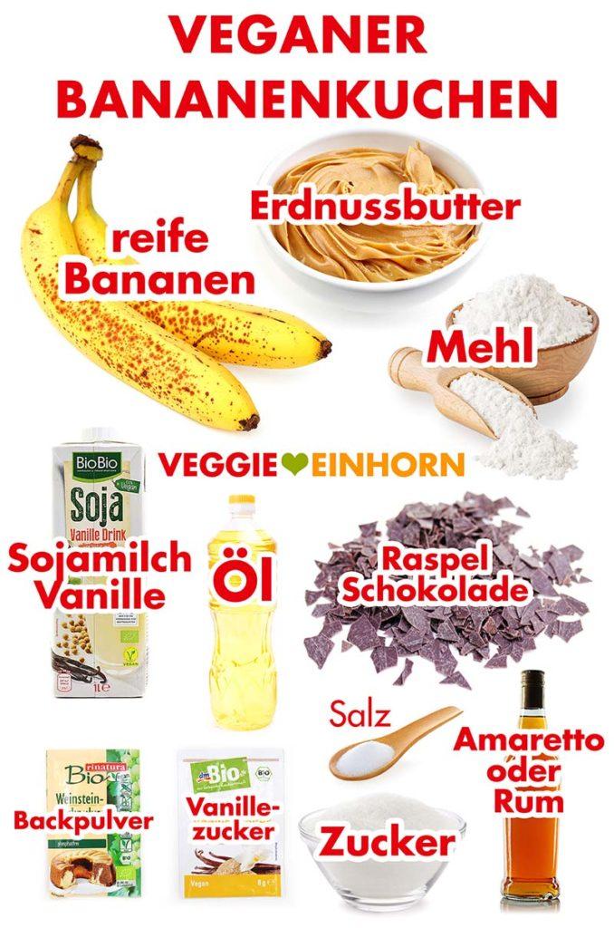 Zutaten für den veganen Bananenkuchen