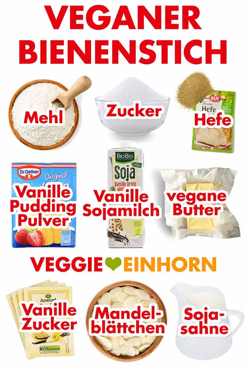 Zutaten für veganen Bienenstich