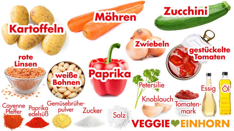 Zutaten für veganen Kartoffel-Gemüse-Eintopf mit Linsen und Bohnen