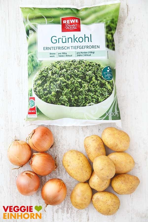 Tiefgekühlter Grünkohl, Zwiebeln, Kartoffeln
