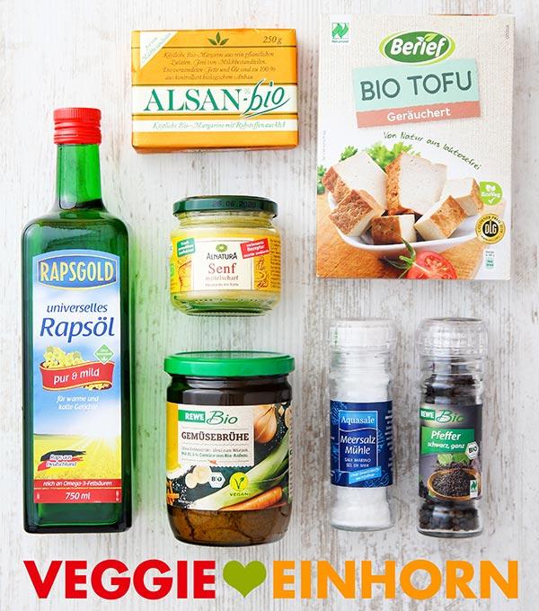 Bratöl, Räuchertofu, Senf, Margarine