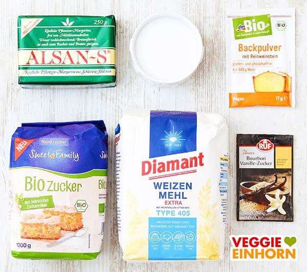 Vegane Margarine, Mehl, Zucker, Weinsteinbackpulver, Vanillezucker